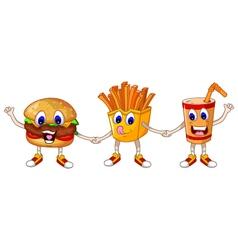 burger stick and soft drink cartoon handshake vector image