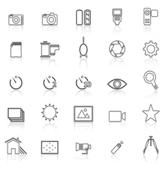 Camera line icons with reflect on white vector image vector image