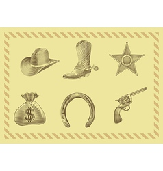 Cowboy icon set in engraving style vector