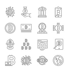Cryptocurrency line icons set collection vector
