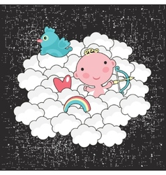 Cute baby cupid in the blue sky vector