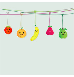 Cute fruits hanging on string vector