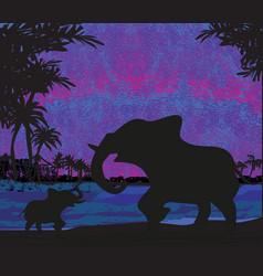 Elephants enjoy a sunset vector