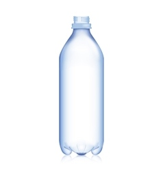 Empty bottle realistic blank plastic blue water vector