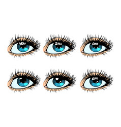 female eye set glare in the pupil vector image