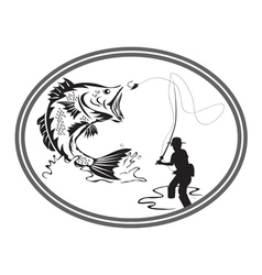 Fishing bass emblem vector