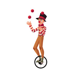Funny clown juggling balls while riding unicycle vector