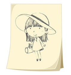 Girl sketched on paper vector image vector image