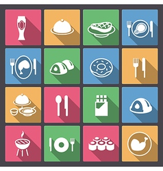 grill and sweets icons in flat design vector image vector image