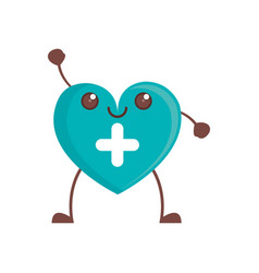 Kawaii heart cross care vector