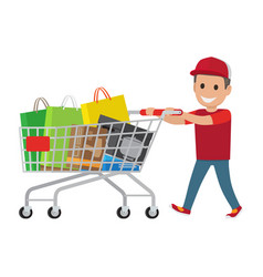 kid making purchases in supermarket flat vector image vector image