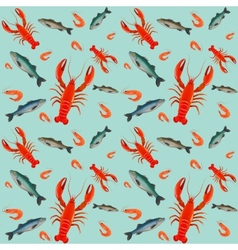 Lobster seamless pattern vector image