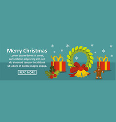 merry christmas banner horizontal concept vector image vector image
