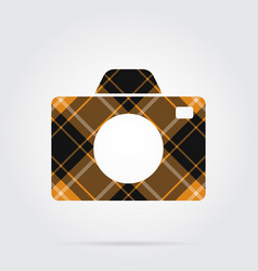 Orange black tartan isolated icon - camera vector