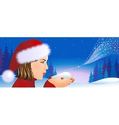 Santa girl on christmas background vector