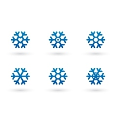 Snowflake set with shadow vector