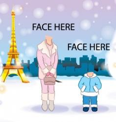 Snowing at paris vector