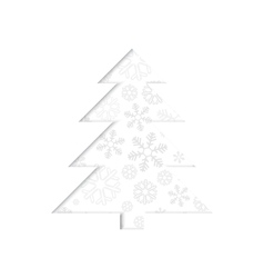 Stylized retro Christmas tree with snowflake vector image vector image