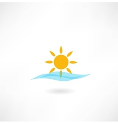 sun with sea wave icon vector image