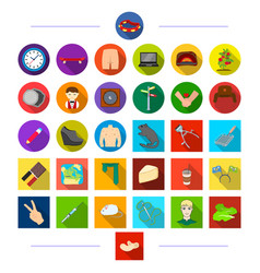 Travel tools plants and other web icon in flat vector