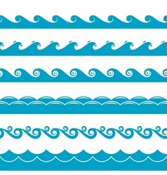 Water waves symbols set vector image vector image