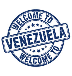 Welcome to venezuela blue round vintage stamp vector