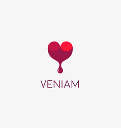 Wine logotype abstract drop heart logo vector