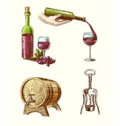 Wine sketch decorative set vector image