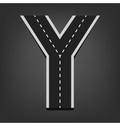 Y letter Road font vector image