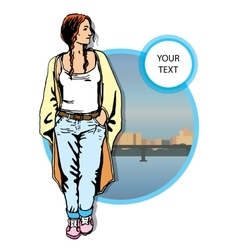 young women in a casual clothes on city vector image vector image