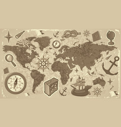 World map with travel icons vector