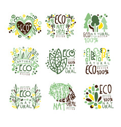 Eco organic bio natural products set for label vector