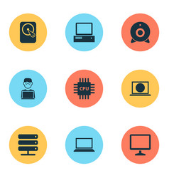 Notebook icons set collection of hdd database vector