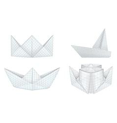 Origami ships set vector