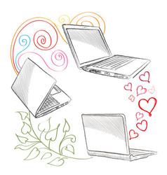 Laptop set computers connection concept social vector