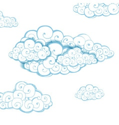 Decorative background with clouds sketch vector