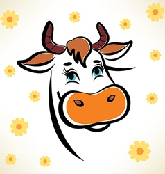 Happy cow portrait outlined symbol vector