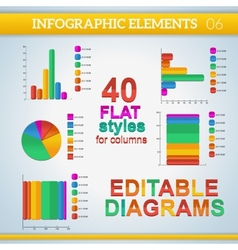 Editable info graphic diagrams in flat colors with vector