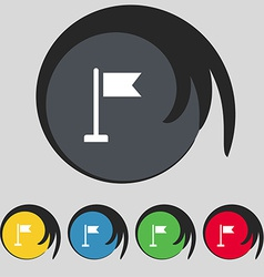 Flag icon sign symbol on five colored buttons vector