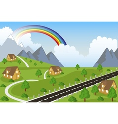 Mountain landscape with small town vector