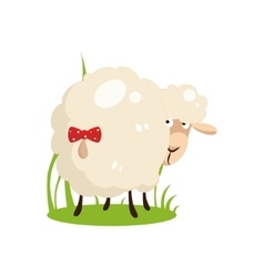 Cute white sheep with a bow on tail flat design vector