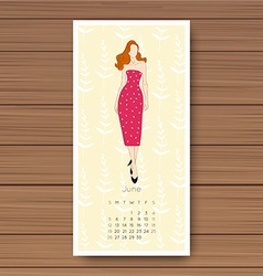 June hand drawn fashion models calendar 2016 vector