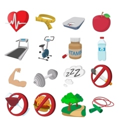Healthy lifestyle cartoon icons vector image