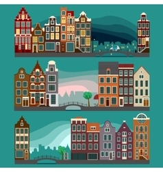 City streets with old buildings vector