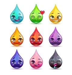 Cute cartoon colorful drop characters vector