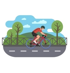Cyclist on bike path vector