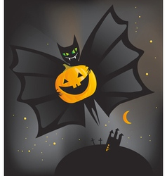 Bat with pumpkin vector