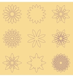 Set of nine geometric flowers vector