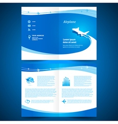 Booklet catalog brochure folder airplane airline vector