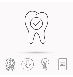 Check tooth icon stomatology sign vector